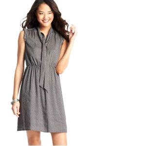 LOFT Polka Dot Tie Neck Sleeveless Ruffled Dress